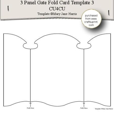 3 Panel Gate Fold Card Template 3 CU4CU on Craftsuprint designed by ...