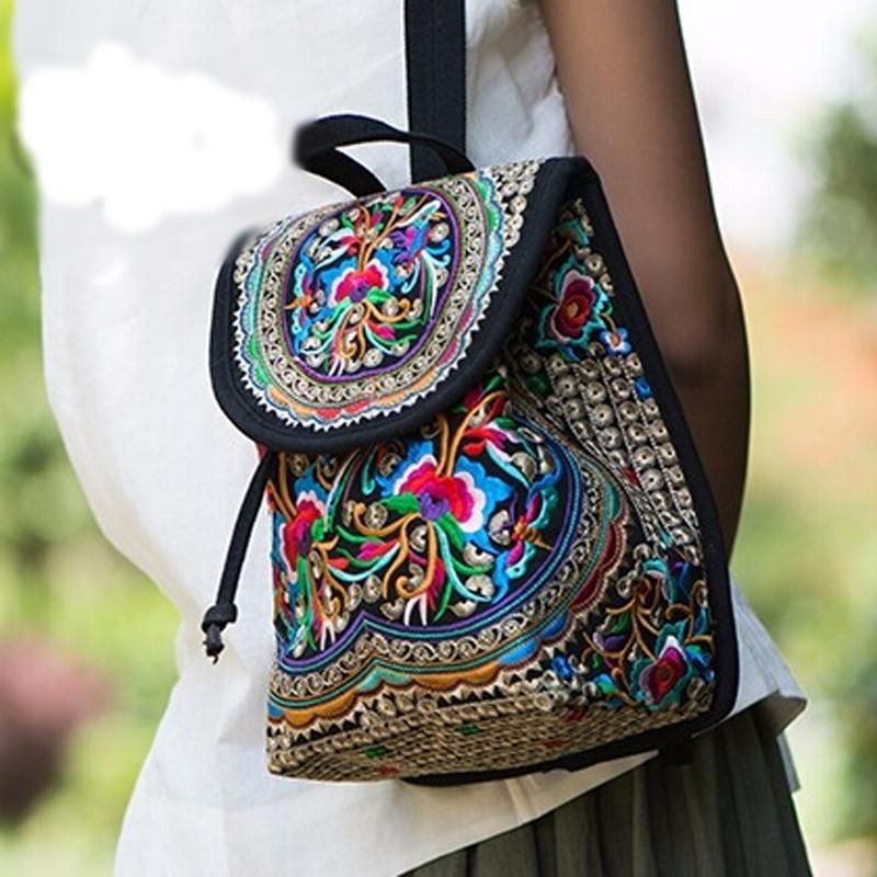 e2bf6a086cb9 Boho Embroidery Vintage Womens Canvas Backpack | Art | Backpack ...