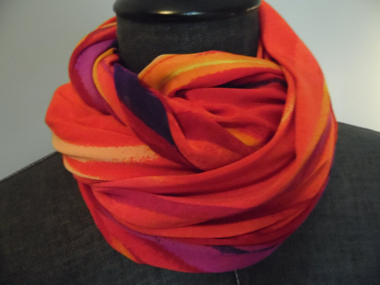 b5b26be7b5ea ITY Fire Red Multi Jersey Knit.Infinity Scarf Deep  Purple.Red.Yellow Gold.Lavender.Orange.Spring.Summer.Office.Weekend.