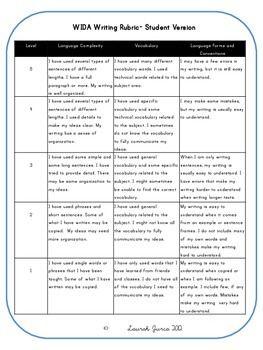 Kid-Friendly Rubrics for Reading, Writing, Speaking