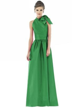 Alfred Sung Style D533    Fabric: Dupioni purchase swatch    Sleeveless full length dupioni dress with bow at high neck. Matching wide self belt at natural waist. Full shirred skirt has pockets at side seams. Also available cocktail length as style D532. Available in sizes 00-30W.