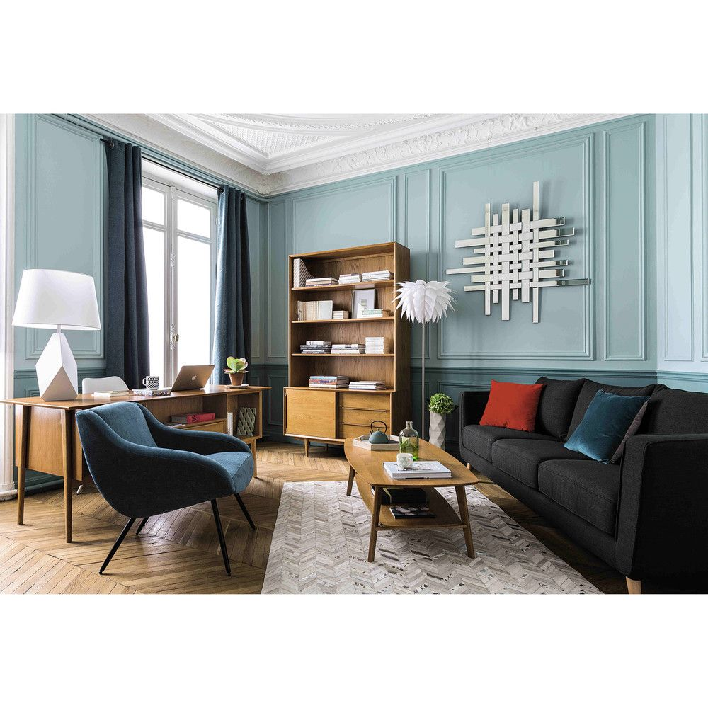 fauteuil vintage en tissu bleu joyce maisons du monde appartement pinterest tissu bleu. Black Bedroom Furniture Sets. Home Design Ideas