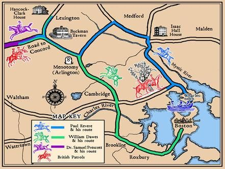 Battles Of Lexington And Concord Battle Of Lexington And Concord - Concord usa map
