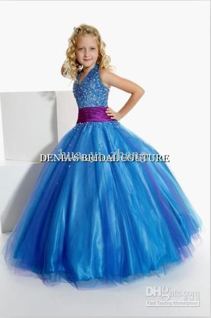 Wholesale Blue Ball Gown Little Girl Pageant Dresses Princess ...