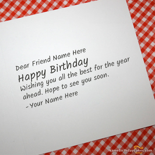 Write Name On Cool Birthday Card For Any Friend