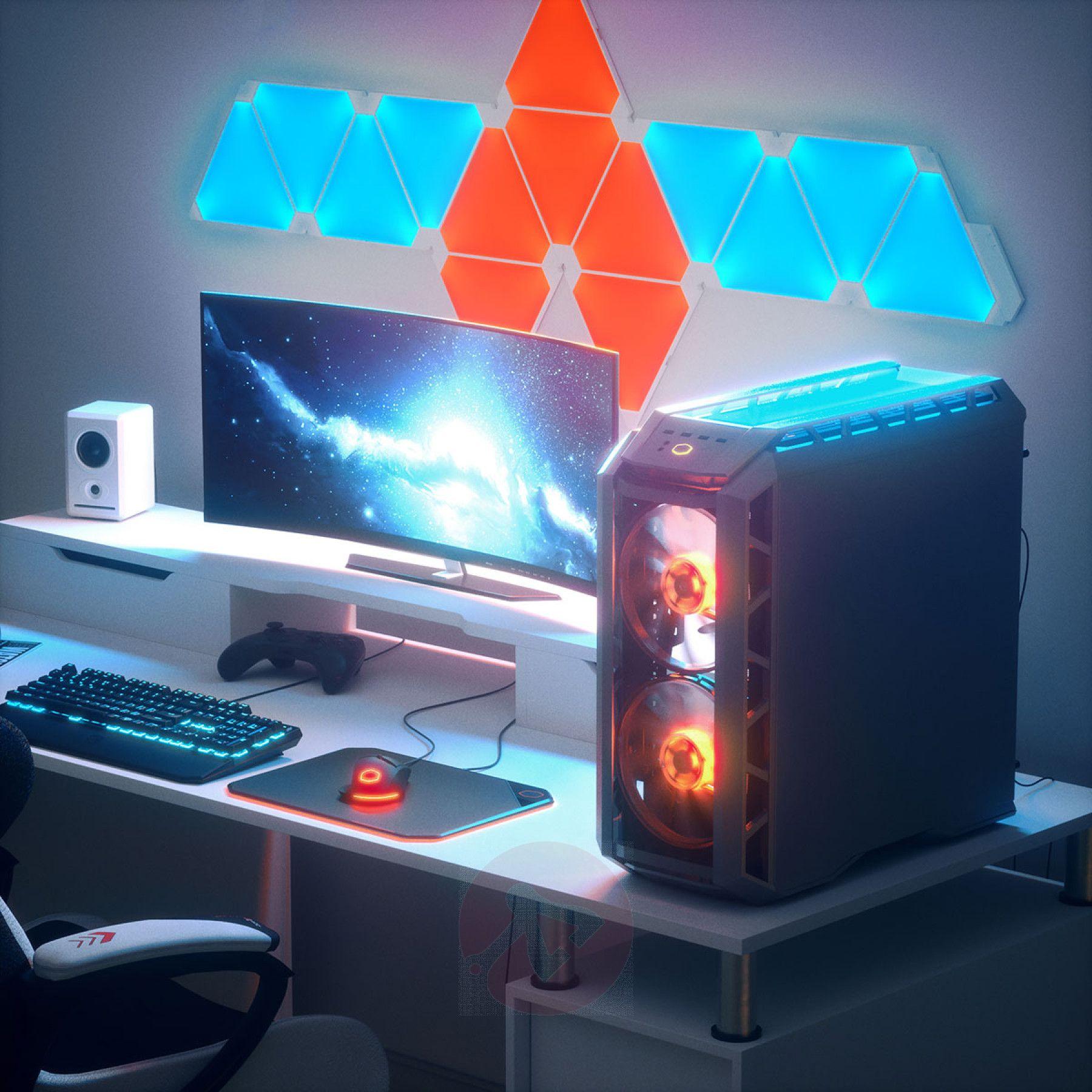 Nano Leaf Display Nanoleaf Lights Light Panels Gaming Room Setup