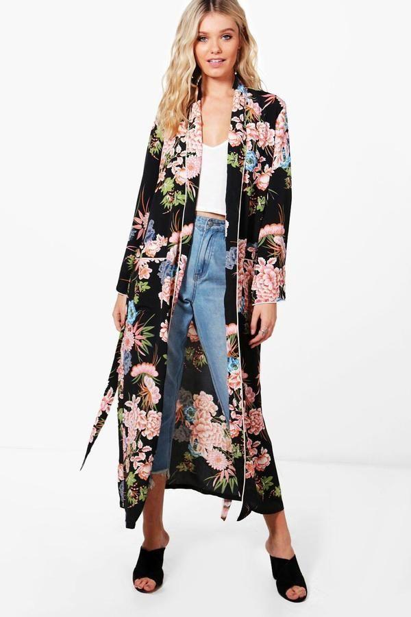 d4e33dc97c Premium Floral Print Kimono in 2019 | Fall/Winter | Winter coats ...