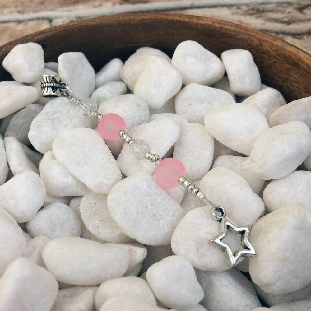 5 Howlite Gemstone Hair Rings Dreadlock Beads