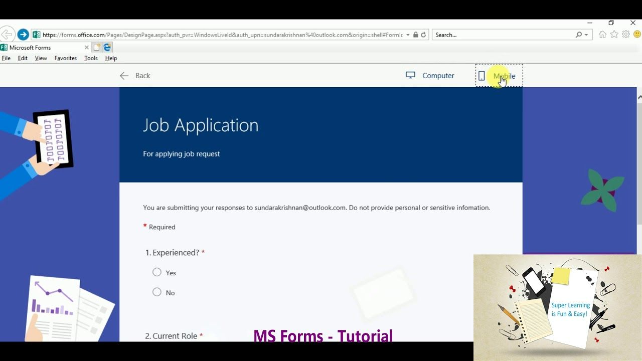 MS Forms Tutorial Apply job, How to apply, Learning