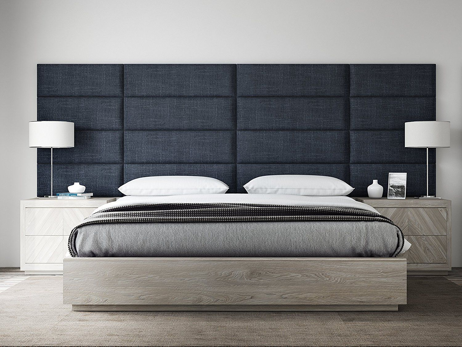 Amazon Com Vant Upholstered Headboards Accent Wall Panels Packs Of 4 Textured Cotton Weave Midn Bed Headboard Design Bed Furniture Bed Furniture Design