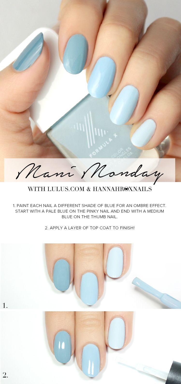 Manicure Monday: Blue ombre nail tutorial | Nails | Blue ombre nails