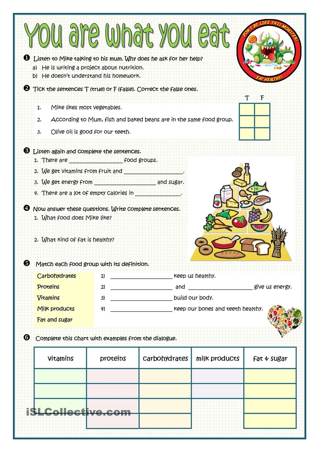 Number Names Worksheets healthy lifestyle worksheets : YOU ARE WHAT YOU EAT worksheet. ESL worksheet of the day by ...