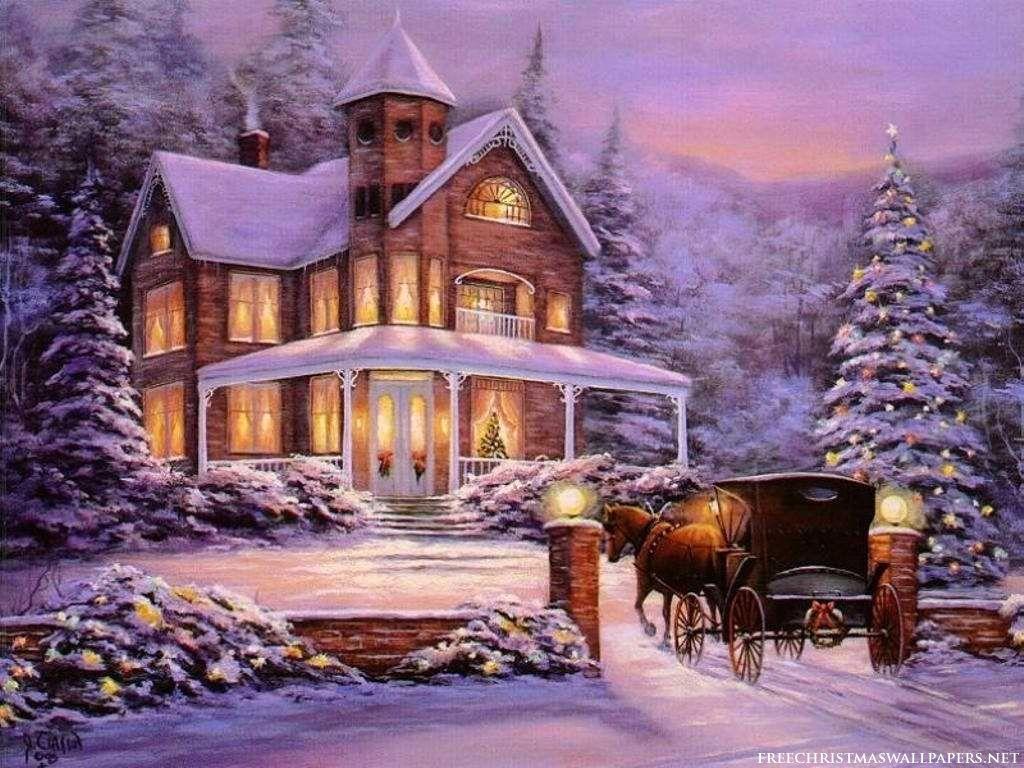 Christmas house with snow art - Christmas House