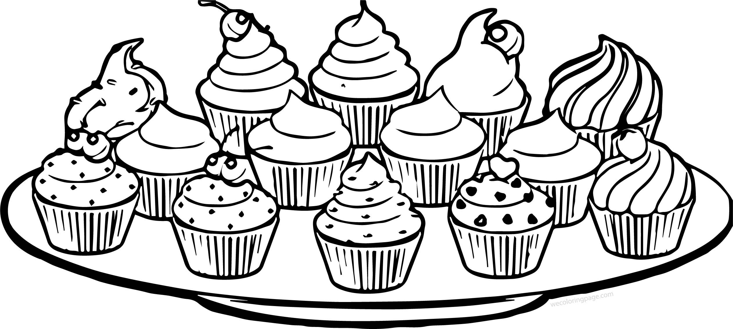 Nice Plate Of Cupcakes Coloring Page Cupcake Coloring Pages Shopkins Colouring Pages Coloring Pages