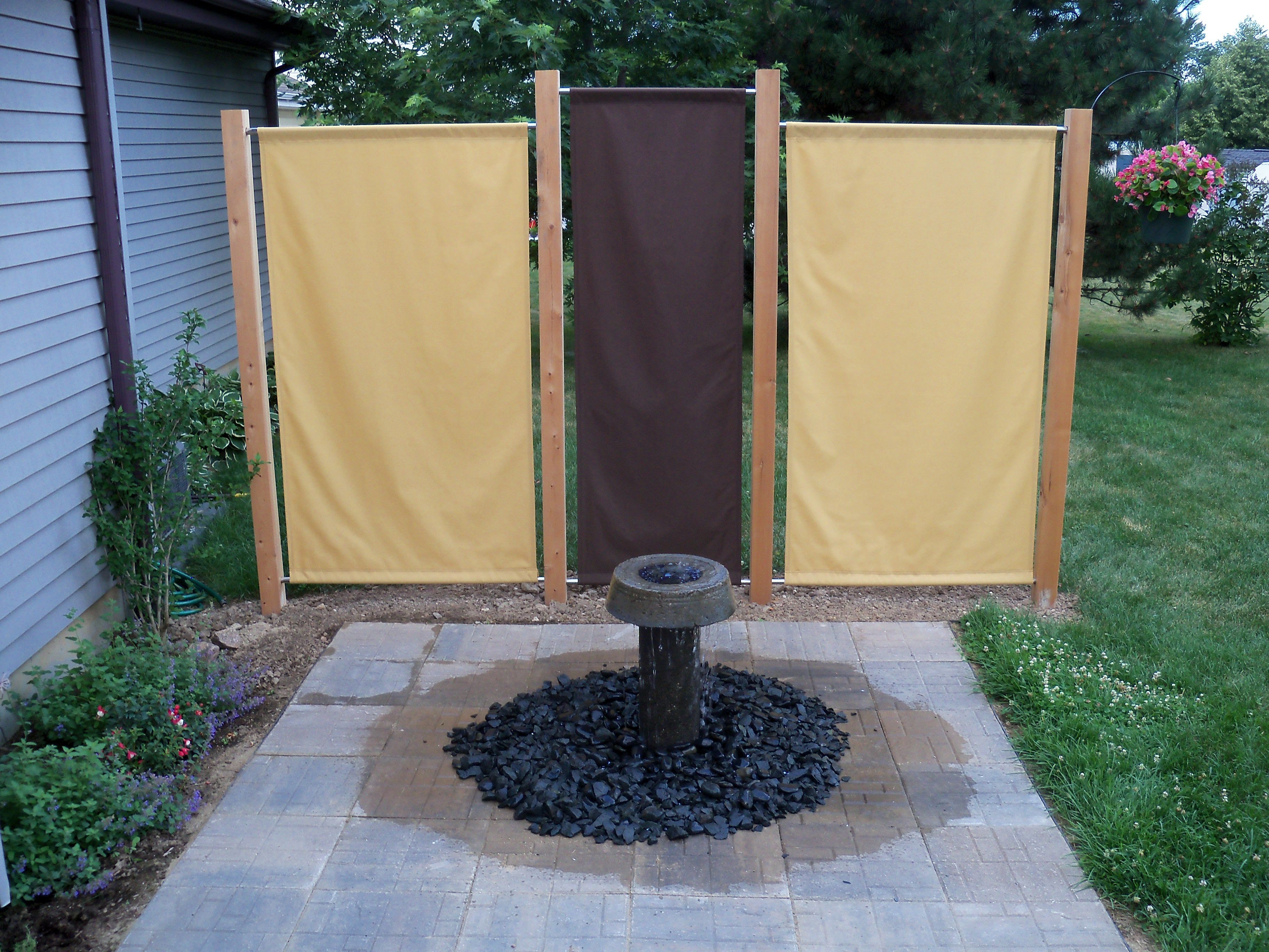 I build this fountain and fabric privacy screens off my ...