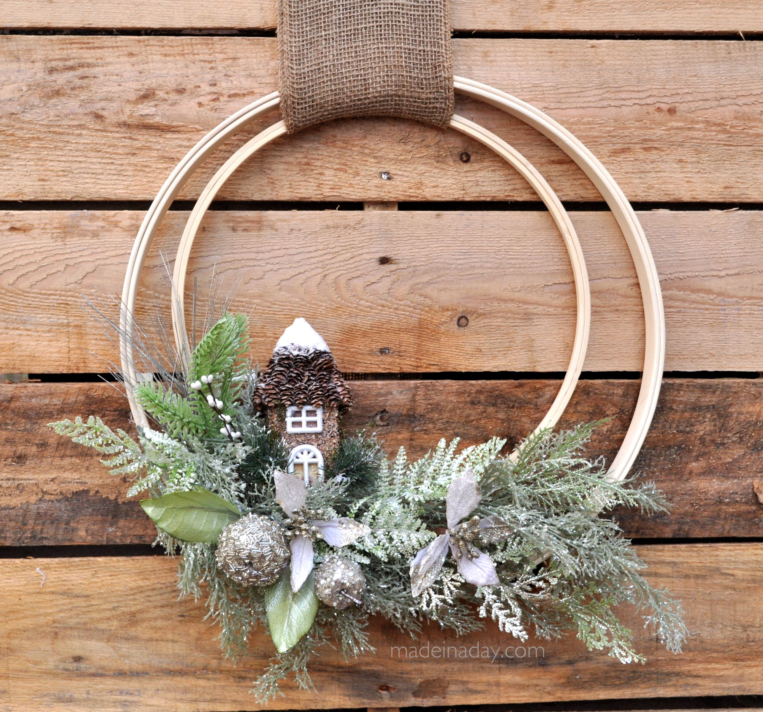 Winter holiday woodland embroidery hoop wreath