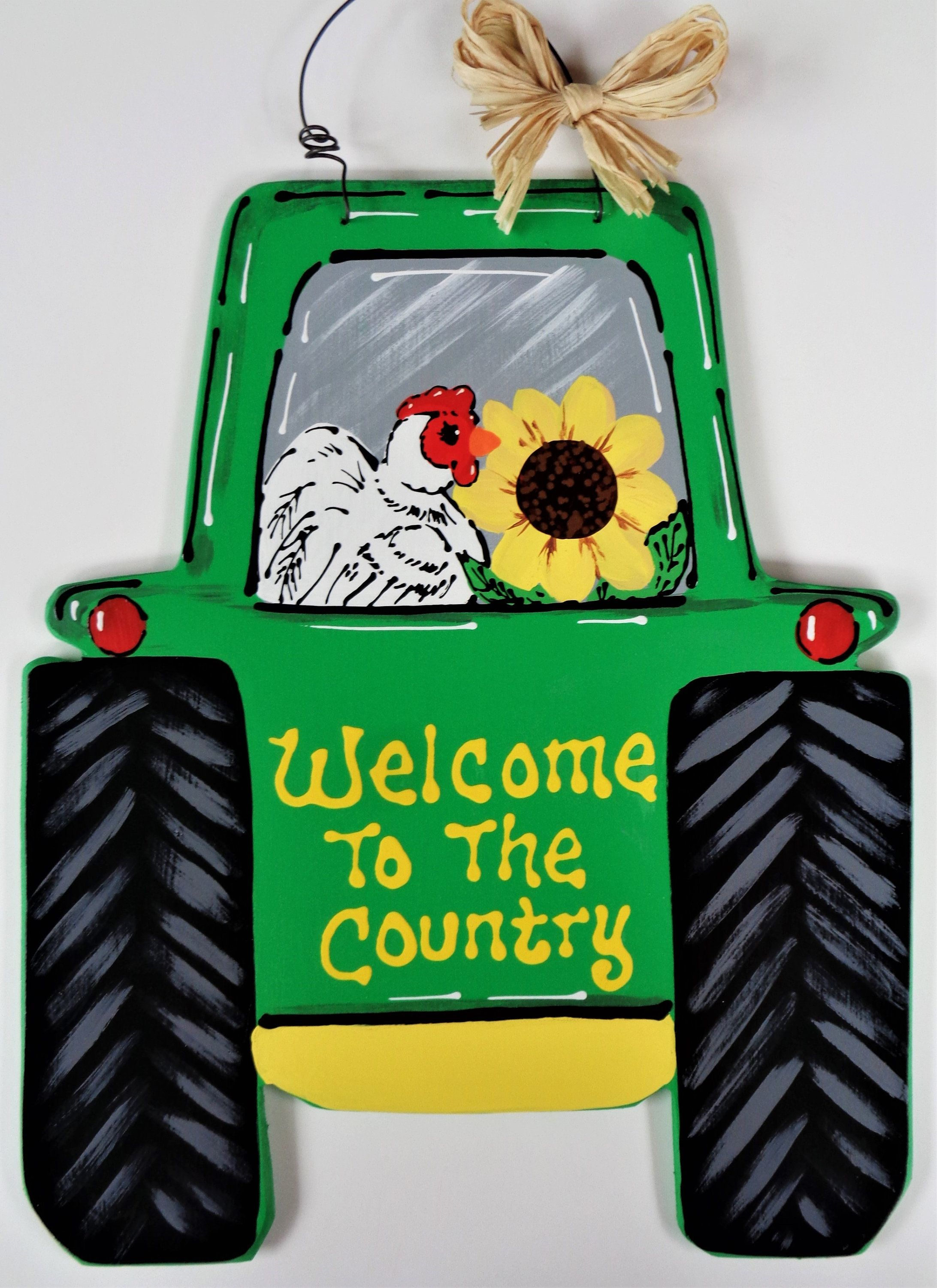 To The COUNTRY Chicken FARM TRACTOR Sign Wall Art