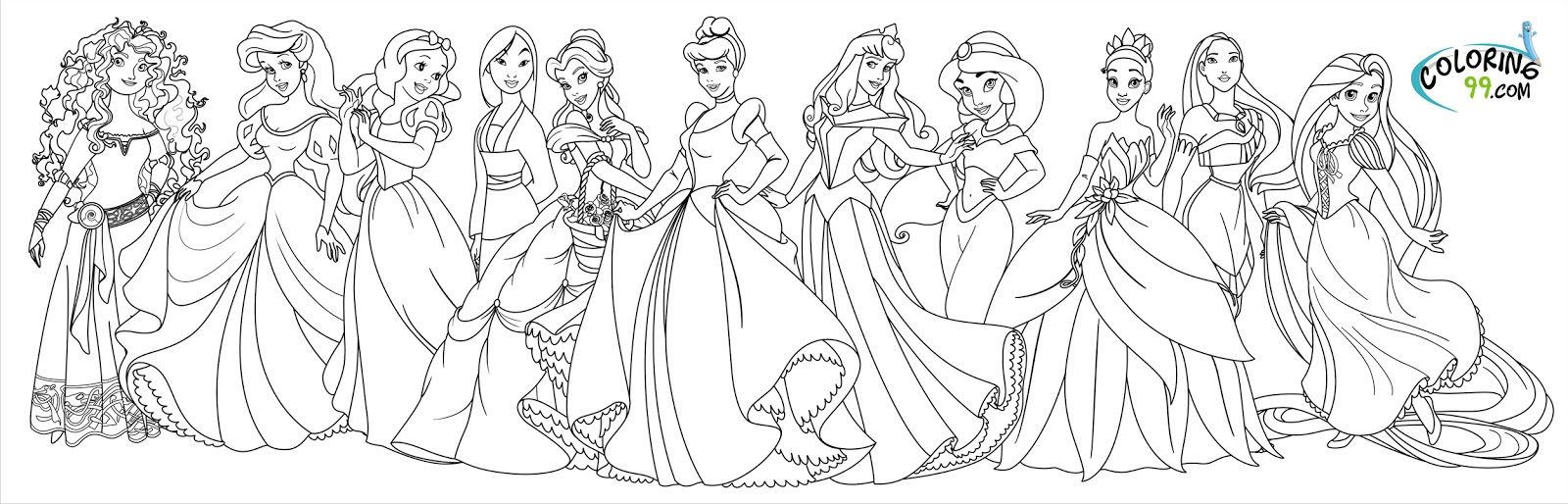 All princess coloring pages - Princess Jasmine Coloring Pages