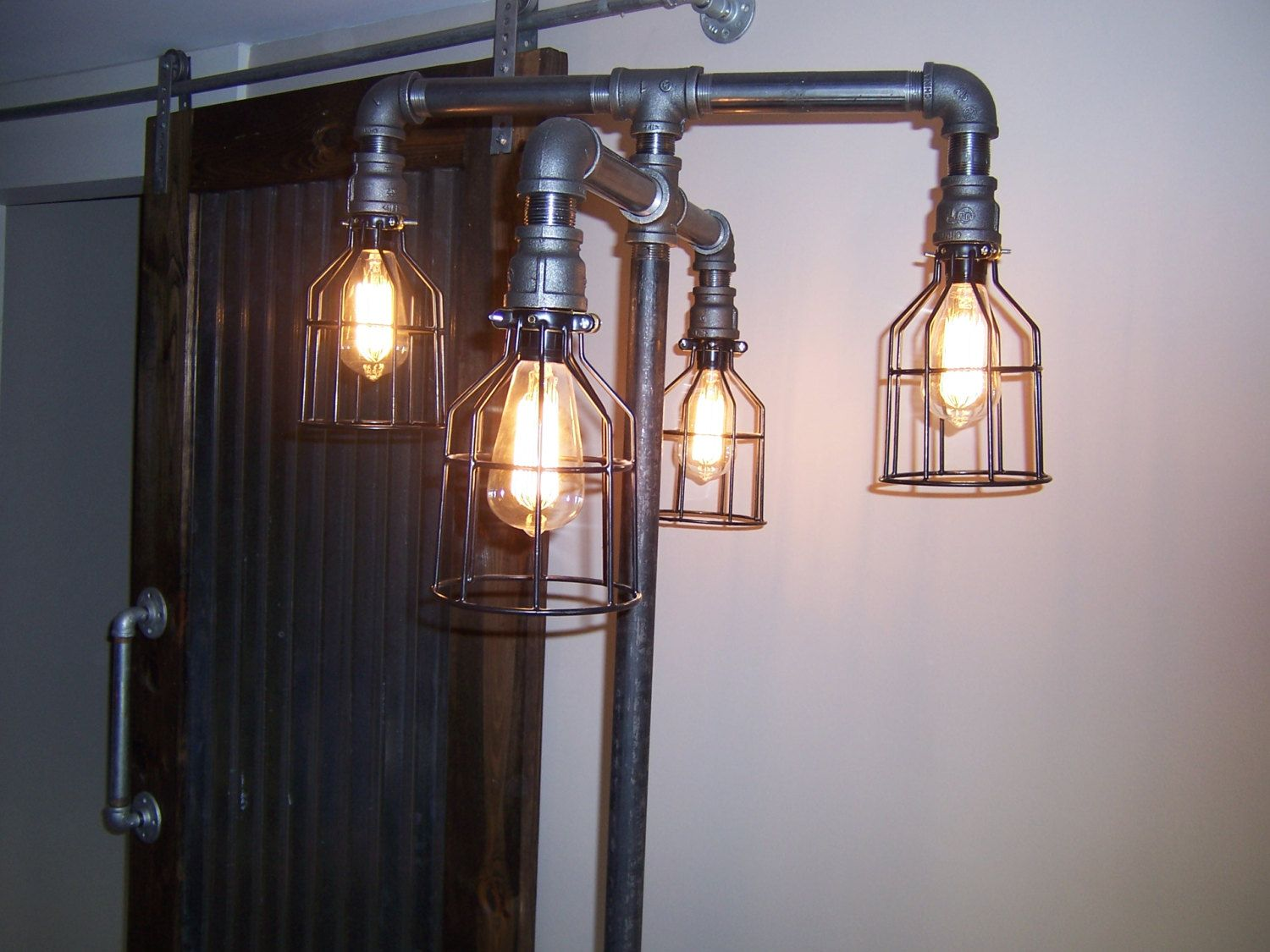 Iron Pipe floor lamp-Steampunk design by TheHoneydew on Etsy ...