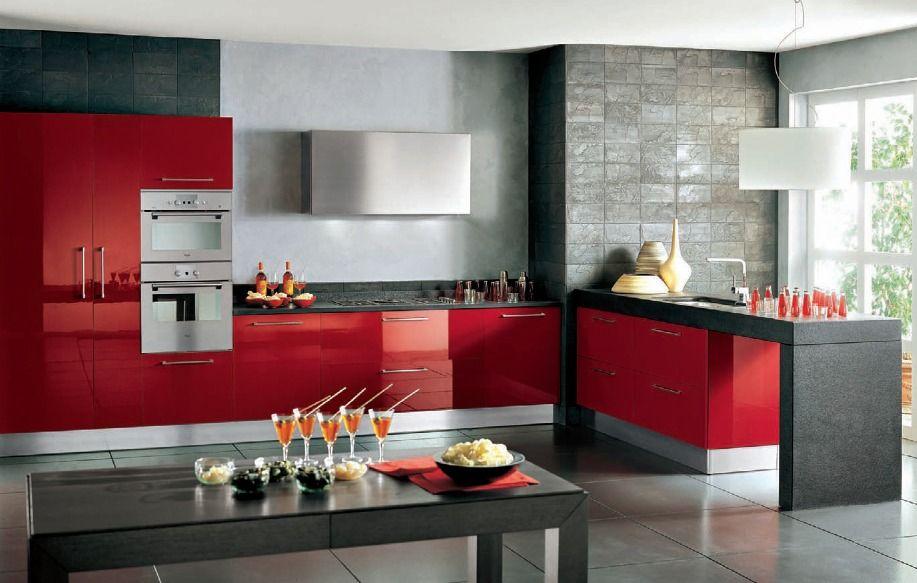 cocinas diseo de cocinas en color rojo cocina uc pinterest