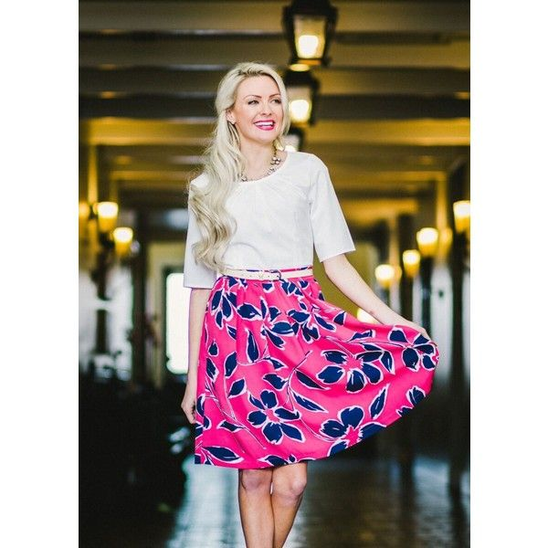 ModestPop Lilly skirt in Pink ($39) ❤ liked on Polyvore featuring skirts, pink, pink floral skirt, floral printed skirt, pink skirt, floral skirt and flower print skirt