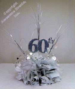 60th Cut Out Used In A Diy Anniversary Centerpiece Kit Choose Your Colors To Make Own Corporate Or Wedding Table Decorations