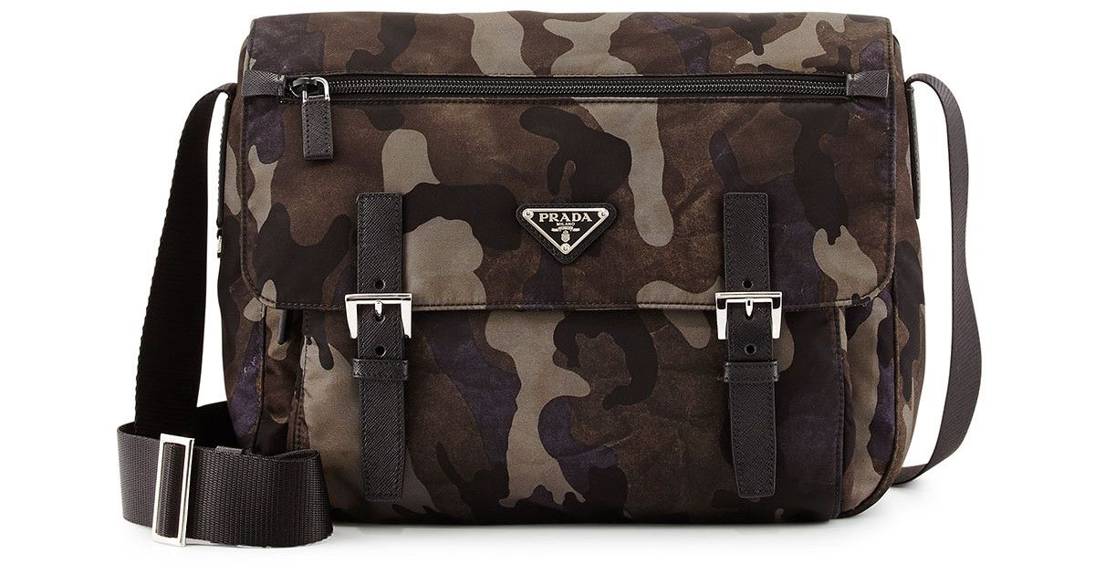 b8d1bcd50a94 ... hot prada tessuto camouflage messenger bag in gray for men gray multi .  9a5ca 976e4