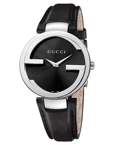 5c13007f664 A smart and chic women s watch from Gucci. The black textured dial features  silver hands and the GUCCI logo. This is protected by sapphire crystal  glass in ...