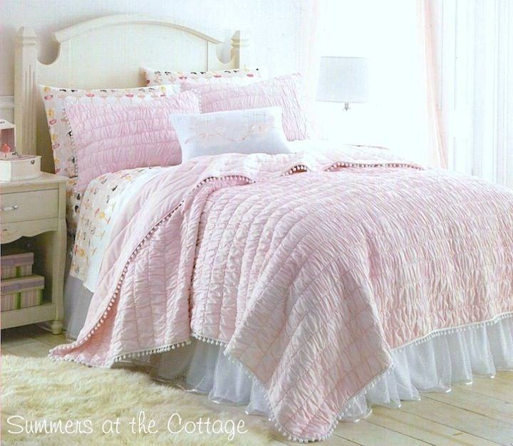 Bashful Pink White Pom Pom Darling Ruched Quilt Pillow Shams