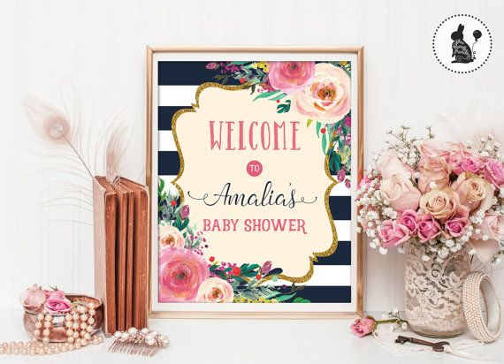 Welcome Sign Decor Glamorous Floral Baby Shower Welcome Signprintablehigh Tea Shower Decor Inspiration