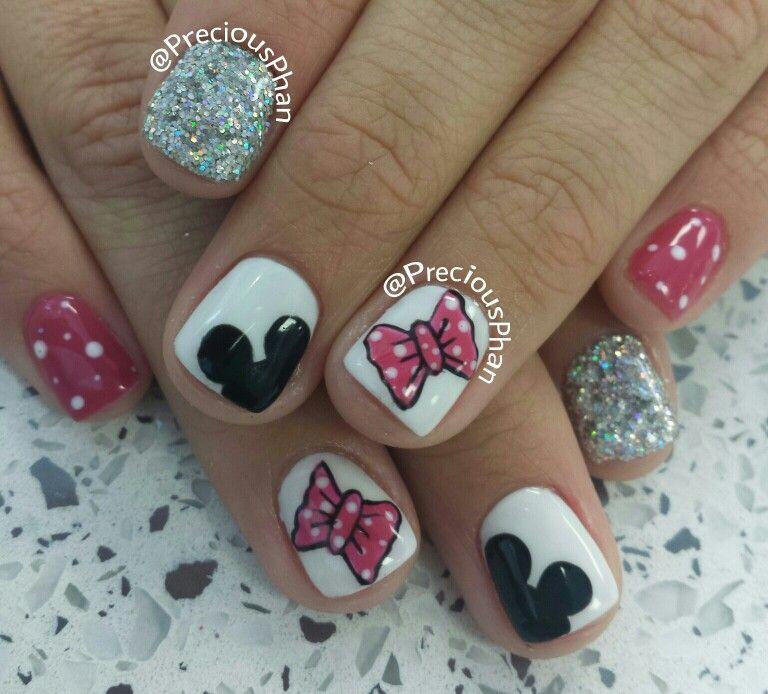Micky mouse, bow, disneyland nails | uñas | Pinterest | Diseños de uñas