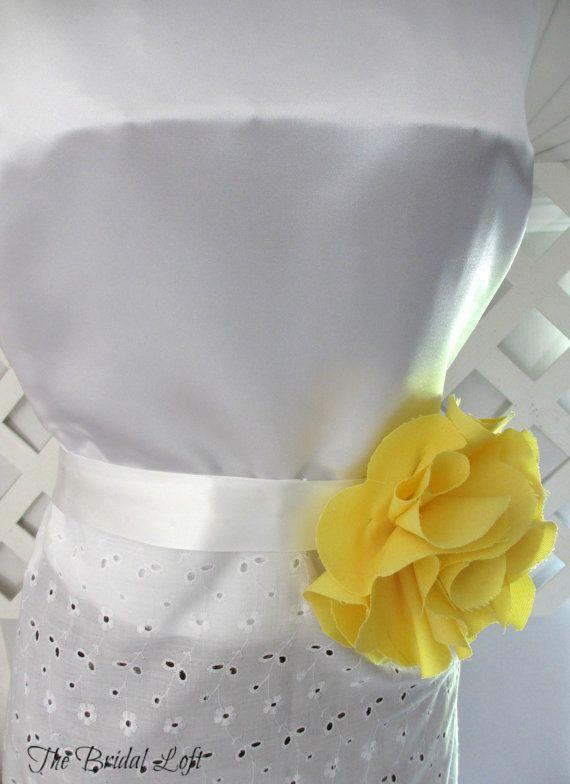 Yellow Dress Sash, Yellow Flower Girl Sash, Yellow Bridal Dress Sash, 2 Sizes available for girls and adults, Shabby Style Wedding Dress Sash, Solid Yellow Flower Belt, Matching items available, by BridalLoft