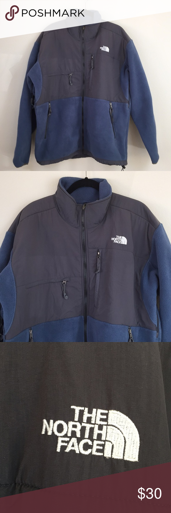 The north face blue gray zip up fleece sweater my posh picks