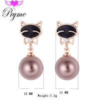 Pryme Stud Earring Kitty Design Rose Gold Plated Rhinestone Pearl Earring…