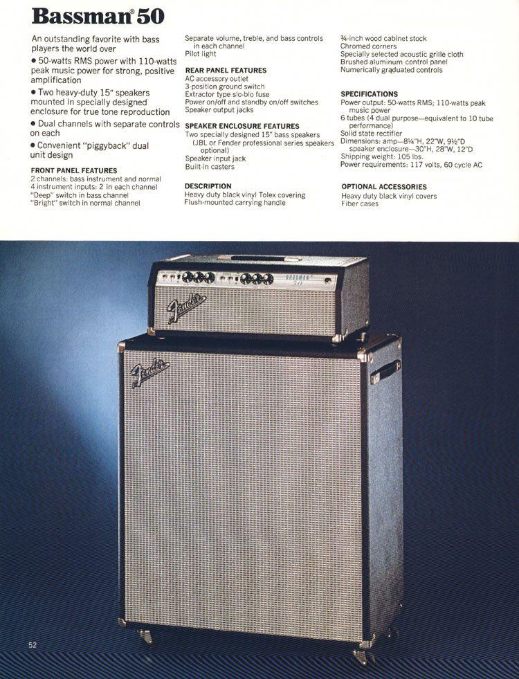 Fender Bassman 50 Amplifier - 1972 Fender catalogue - page