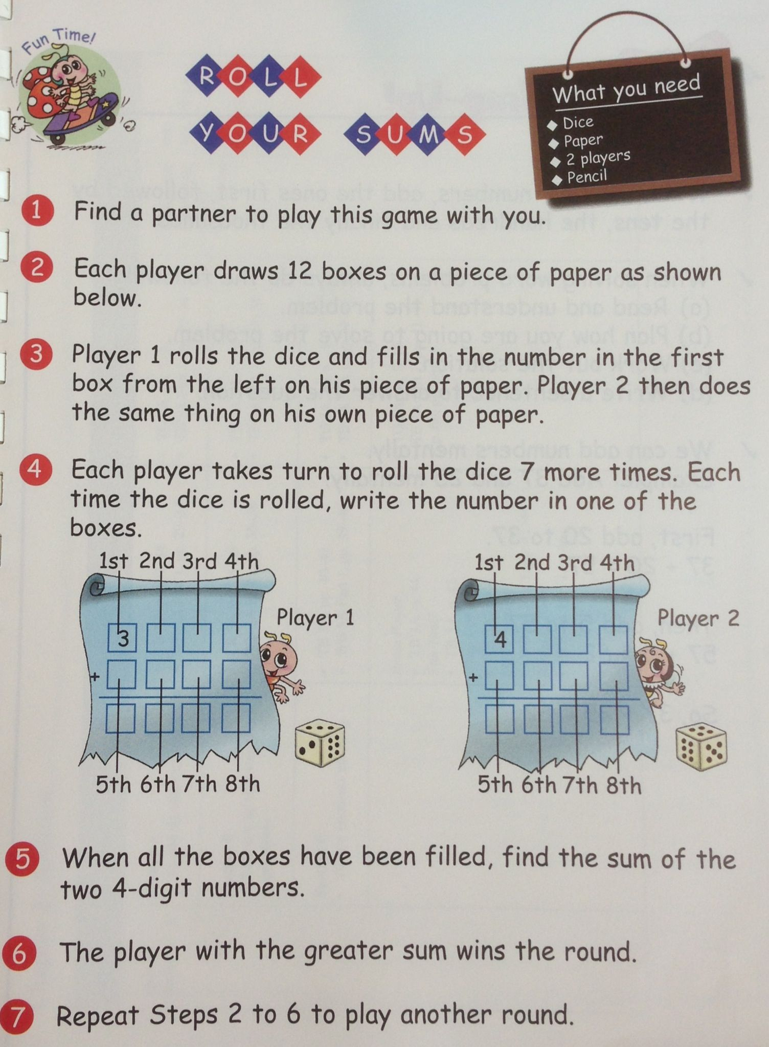 Roll Your Sums A Grade 3 Dice Game On Addition