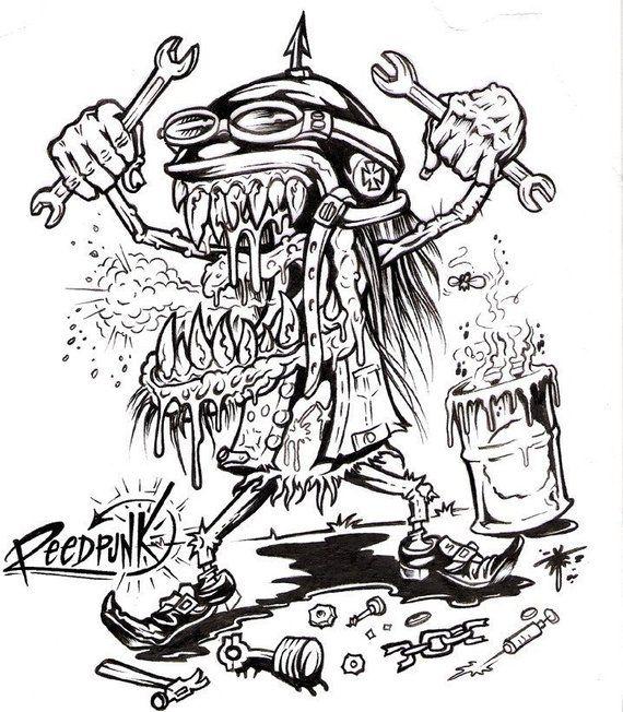 Reedpunk Rockabilly Kustom kulture Tattoo flash COLORING