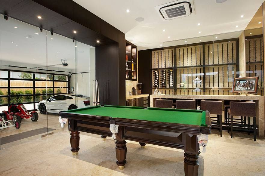 Pool Table In The Garage Love It Melbourne House Man Cave Modern Mansion
