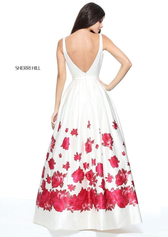 Square neck satin ball gown with a red floral print border.
