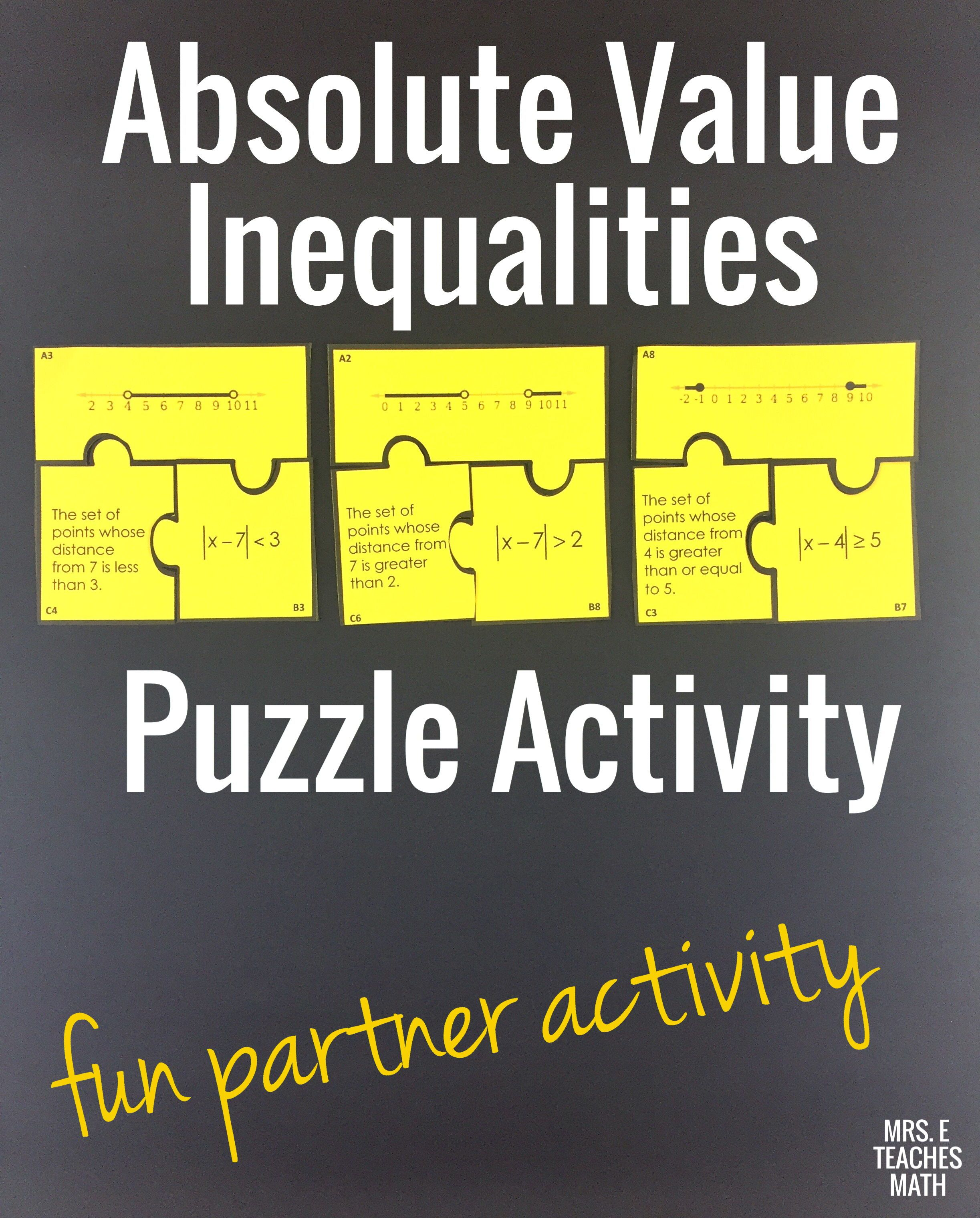 Absolute Value Inequalities Cut Out Puzzle