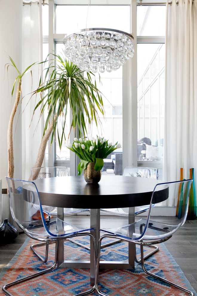 Dazzling Ikea Table Tops Technique New York Eclectic Dining Room Decorating  Ideas With Chandelier Clear Chairs Kilim Rug Round Dining Table White  Curtains