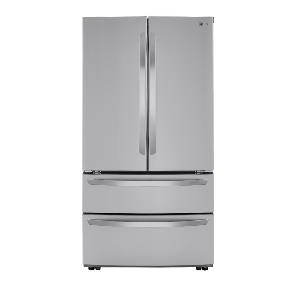 Lg Electronics 23 Cu Ft 4 Door French Door Refrigerator With 2 Freezer Drawers In Printproof Stainless Steel Counter Depth Lmwc23626s The Home Depot In 2020 French Door Refrigerator Counter Depth Refrigerator