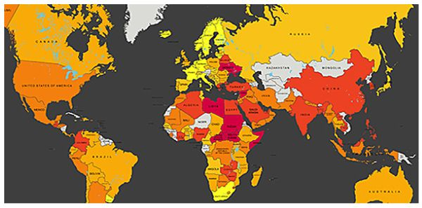 Map The Worst Places In The World To Be A Worker Workers Rights Map World