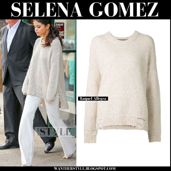 Selena Gomez in cream oversized sweater and white flared pants ...