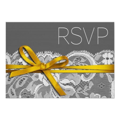 Bows Ribbon and Lace RSVP gray yellow Invitations