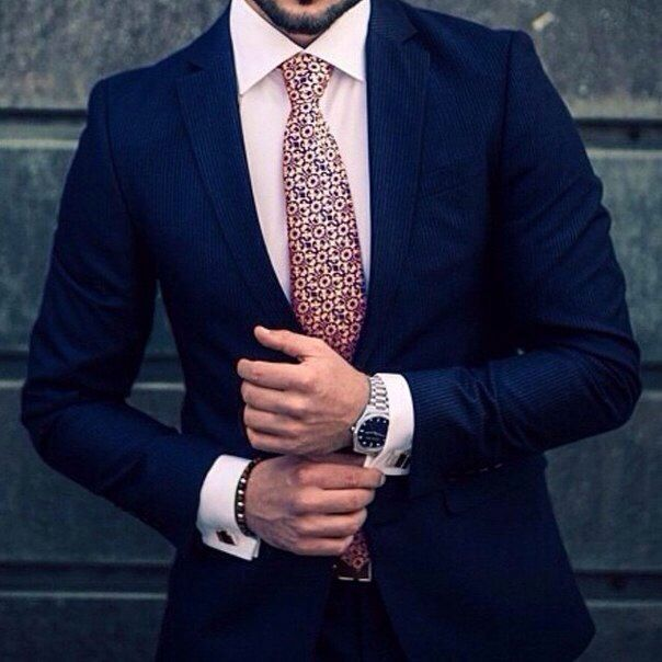 Men's Navy Blue Suede Suit Jacket on a Pink Shirt and Tie Outfit ...