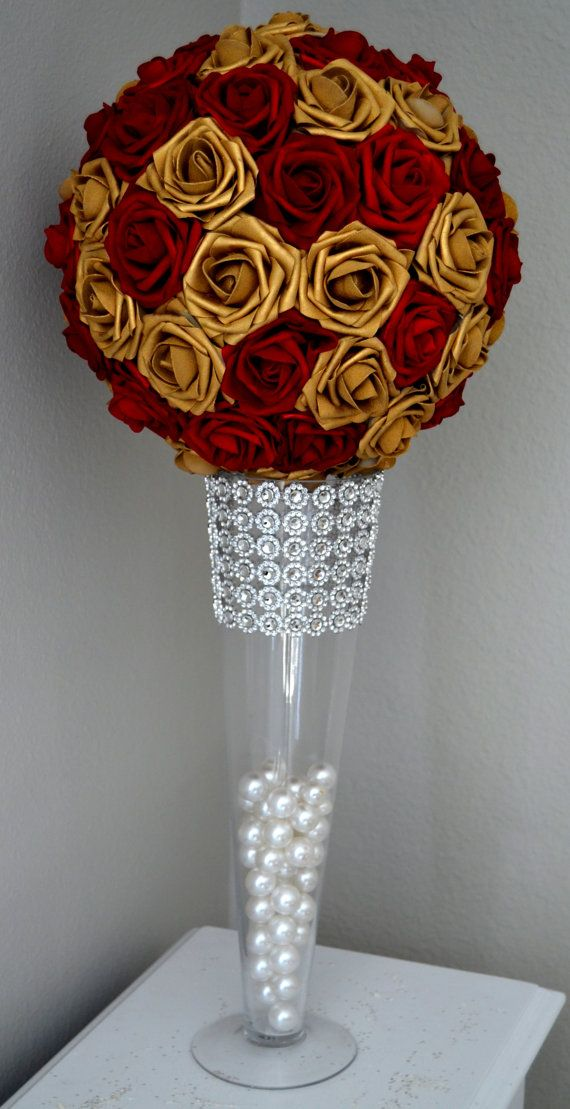 Red gold flower mall mix wedding centerpiece by