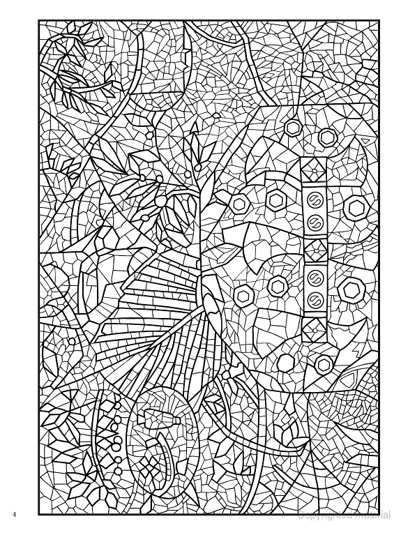 Creative Haven Mosaic Masterpieces Coloring Book Dover