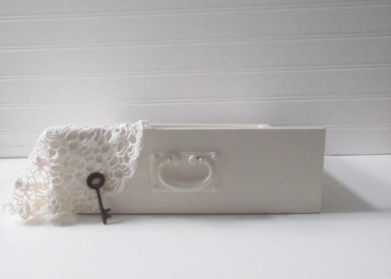 Rustic Wedding Vintage White Wood Drawer by SeasideRoseCreations