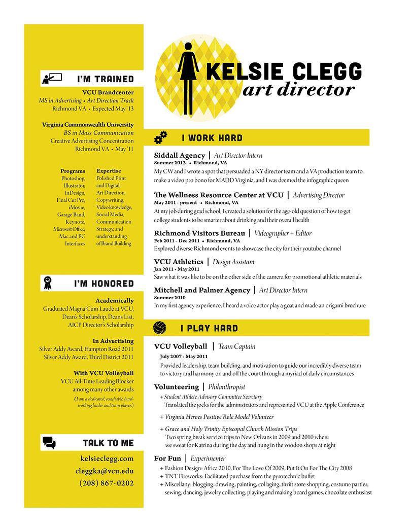 Kelsie Clegg Art Director Resume Art Director Resume Career Exploration